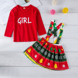 cb27e5e310cc good quality Kids clothes 2PCs Baby Girls Clothing Letter T-shirt Tops+Christmas  Print Overalls Dress Outfits Set roupas menina