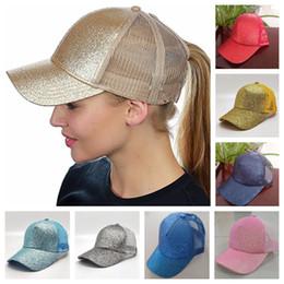Опт 14 Цветов Женщин Шляпа Хвост Бейсбол Шляпа Девушка Софтбол Шляпы Вернуться Отверстие Пони Хвост Блеск Сетки Девушки Солнце Шапка Шляпа Дышащие Snapbacks