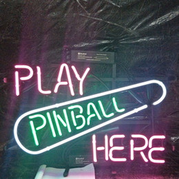Ingrosso GIOCA PINBALL QUI Neon Sign Holiday Display Advertising Decoration Personalizzato Wall Real Glass Light Metal Frame 17 '' 20 '' 24 '' 30 ''