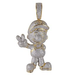 Mario Pendants Australia - Cool Mario Iced Out Pendant Hip Hop Designer Jewelry Diamond Necklace Gold Miami Cuban Link Chain Micro Paved Bling CZ Punk Men K6225
