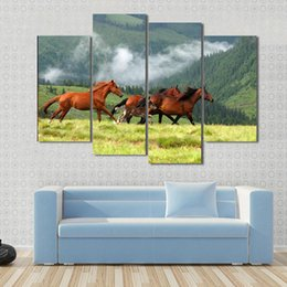 Hd Painting Horse Run Australia - Modular Canvas Painting For Living Room HD Prints Poster 4 Pieces Animals Running Brown Horses Picture Wall Art Home Decor Frame