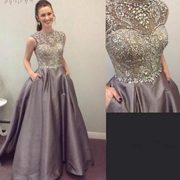 Gold diamond prom dresses online shopping - Sparkling Beading Handwork Satin Silver Gray Prom Dresses Sleeveless Long Diamond Sequined Formal Evening Gowns Vestidos Formatura
