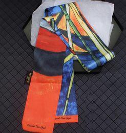 $enCountryForm.capitalKeyWord Australia - 2pcs 120cm*9cm early autumn new Van Gogh oil painting coast ship twill silk scarf floating towel small ribbon belt scarf free shipping