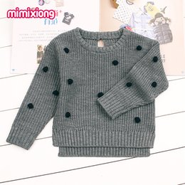 $enCountryForm.capitalKeyWord Australia - Dots Crochet Sweater For Girls Newborn Baby Boys Knit Pullovers Spring Outerwear Children Kids Knitwear Long Sleeve Jumper Pink