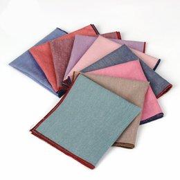 $enCountryForm.capitalKeyWord Australia - High Quality Hankerchief Scarves Vintage Hankies Men's Pocket Square Handkerchiefs Solid Cotton 25*25cm Men Wedding Handkerchief