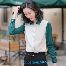 formal shirts gray color Australia - BS986 Fashion NEW Women Long Sleeve Contrast Color Shirts Ladies Formal Work OL Office Shirts