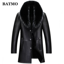 men coat high collar wool Australia - BATMO 2019 new arrival winter high quality real leather fox fur collars trench coat men ,men's winter Wool Liner parkas AL18LY191112