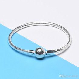 925 snake chain 3mm Canada - 925 Sterling Silver Smooth 3MM Snake Chain European Beads fits Pandora Bracelet Bangle Chain Jewelry with Logo Gift For Men Women