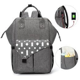 large change bag UK - Large Baby Diaper Bag Waterproof USB Baby Bags For Mom Backpack Mummy Maternity Nappy Bag For Changing