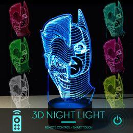 Batman Figure Wholesale Australia - 5 piece lot3D Optical Illusion Night Light 16 Color Changing Lamp - Cool Soft Light Safe For Kids DC Comics Justice League Batman and Joker