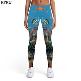 $enCountryForm.capitalKeyWord Australia - KYKU Brand Fish Leggings Women Animal Trousers Tropical Spandex Ocean 3d Print Fishinger Elastic Womens Leggings Pants Jeggings