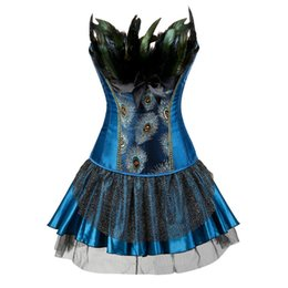 Chinese  Caudatus Corsets Bustiers Peacock Embroidery Princess Costumes Burlesque Overbust Corsets Dresses With Skirt Feather Plus Size Y19070101 manufacturers