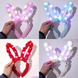 Wholesale shining costume resale online - Plush Stuffed LED Rabbit Hairband Shine Cat Ear Horn Crown Lovely Easter Hair Hoop Flash Of Light Bunny Girl Christmas Props lxzb1