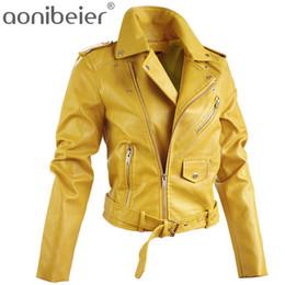 Coat Pu Zipper Australia - Aonibeier Artificial Leather Jackets Autumn Street Short Washed PU Jacket Zipper Basic Jackets Slim Fit Women Coats Outwear