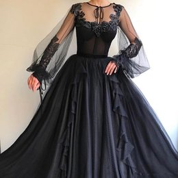 women one piece dresses for parties Australia - 2019 Black Gothic Prom Dresses With Sheer Long Sleeves Lace Appliques Plus Size Sweep Train Evening Pageant Party Gowns For Arabic Women