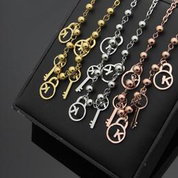 Pendant Letters Gold 18k Australia - New Arrive Fashion Lady 316L Titanium steel 18K Plated Gold Necklaces With Letter K Lock Key Cluster Pendant 3 Color