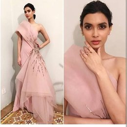 $enCountryForm.capitalKeyWord Australia - Blush Pink Stylish Sexy 2019 African Evening Dresses One Shoulder Satin Organza Prom Dresses Cheap Formal Party Bridesmaid Pageant Gowns