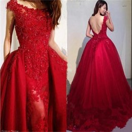 $enCountryForm.capitalKeyWord Australia - Wine Red Beading Appliques Tulle Overskirt Evening Dresses 2019 Modest Scoop Neck Lace Backless Mermaid Prom Gowns Formal Wear