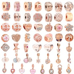 white pink mix rose flower Australia - free shipping 50pcs lot(each for one) pink rose gold european mixed charm bead&clip fit pandora charms bracelet for women diy jewelry M003