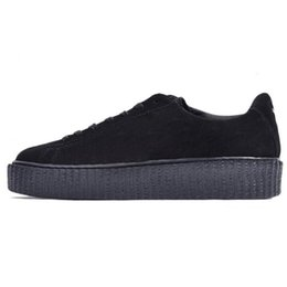 mens white patent leather shoes NZ - Fenty Creeper Rihanna Women Basket Platform Casual Shoes Velvet Cracked Leather Suede Mens Black White Red Green mens Casual Sneakers 36-44