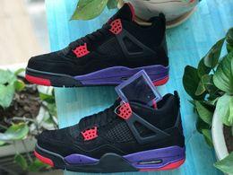 $enCountryForm.capitalKeyWord Australia - Men's dragon black and purple matching 4 sports shoes basketball shoes 4S anti-skid shock absorption style classic original export