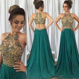 Wholesale long length collar dress images resale online – Hunter Green Long Prom dresses Luxury Crystal Beaded Jewel Neck Back Zipper Floor Length Chiffon A Line Sexy Evening Dresses