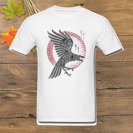 Wholesale tribal print tops for sale – plus size Ragnar s Raven T Shirt Men Tribal Tattoo T Shirt White Tops Cotton Crow Printed Tees Crew Neck Tshirt Clothing Summer