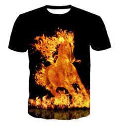 f2640a9714 New Fashion Uomo / Donna Fire Horse Divertente 3D T-shirt Casual T-Shirt a  maniche corte Tops Estate ZC051