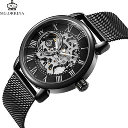 $enCountryForm.capitalKeyWord Australia - Coupons Sale Men Watches Mechanical Hand Wind Luxury Top Brand Orkina Skeleton Stainless Steel Bracelet Mesh Strap Men's Watches Y19061905