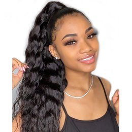 brazilian body wave hair ponytail Australia - body wave Ponytail Wrap Drawstring Brazilian Virgin Human Hair Extensions Natrual Black Clip in wavy Remy Hair Pieces for Women