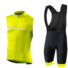 Cube bike CyCling jerseys online shopping - Pro CUBE Cycling Jerseys Set Bicycle Clothes summer Breathable quick dry Sleeveless Bike Vest Bib Shorts Mens Cycling Clothing