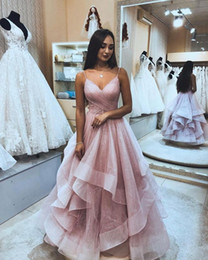special roses UK - Dusty Rose Ruffle Sequins Tulle Prom Evening Dresses Long Spaghetti Open Back Tiered Sweet 16 Dress Vestidos De Festia Special Occasion Dres