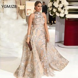 long casual dress train Australia - Luxury Evening Dresses Long 2019 Mermaid Sparkly Glitter Sequin Detachable Train Arabic Formal Prom Evening Gown Robe De Soiree Y19072901