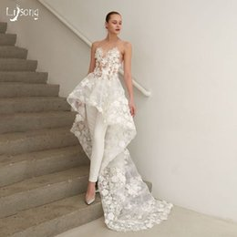 Discount floral maxi dresses weddings Gorgeous Floral White Appliques High Low A-line Wedding Dress with Train Illusion Bride Maxi Gown Bridal Wedding Event W