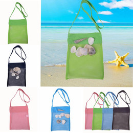 Big Storage Boxes Australia - 4 color Beach Mesh Pouch New Towel Mesh Carrying Box Tote Kid Ball Pouch Beach storage bag