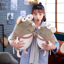 Discount rat toys - candice guo cute plush toy lovely big eyes smiling mouse stripe scarf fat rat soft stuffed doll creative birthday Christ