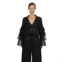 $enCountryForm.capitalKeyWord UK - High Quality 2019 Spring Summer Holiday Black Patchwork Mesh Sexy Blouse Chiffon Shirt OL Butterfly Sleeve V Neck Blouse X348