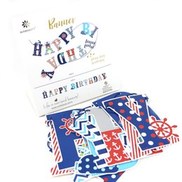 decorations for boy birthday party NZ - Happy Birthday Party Decorations Kids 1ps set Red Navy Blue Banner Sea Nautical Themed Party Supplies For Boy
