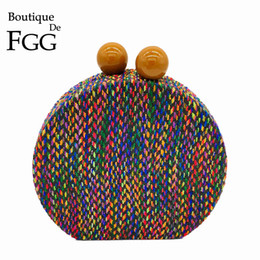 woven clutch bags UK - Boutique De Fgg Multicolored Woven Round Circular Bags For Women 2019 Designer Evening Party Clutch Chain Shoulder Handbag Purse Y19061301