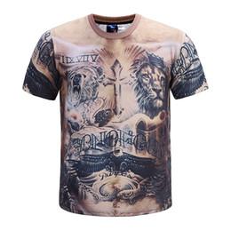 muscle men 3d t shirt 2019 - Fashion Round Neck Pullover T-shirt Men Lion Muscle Tattoo 3D Print Short Sleeve Tee Shirts discount muscle men 3d t shi