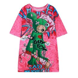 Large Size Bearings UK - Summer new European and American style brand bear print large size loose long T-shirt female T3120