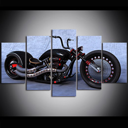 motorcycle oil paint 2019 - 5 Piece Large Size Canvas Wall Art BMW Motorcycle Heavy Locomotive Oil Painting Wall Art Pictures for Living Room Painti