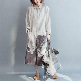 $enCountryForm.capitalKeyWord Australia - Women Long Shirts Loose Cotton Linen Casual Blouses Nice Autumn New Vintage Print Floral Pockets Tops Button Fashion