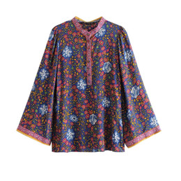3013993baca4 Floral Print Loose Blouse Women 2019 Long Sleeve V neck Button-up Shirts  Ladies Summer Boho Vintage Beach Hippie Blouses Tops