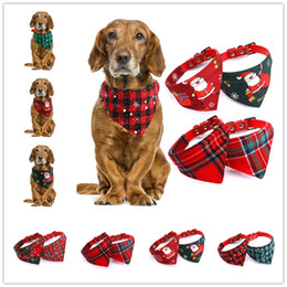 Cartoon Cat dog online shopping - Christmas Pet Bandana Scarf Adjustable Collars Triangle Neckerchief For Cats Dogs Necklaces Pets Christmas Decorations Apparel