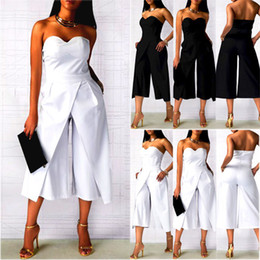 Wholesale jumpsuit formal for sale – dress Fashion Formal Casual Women Ladies Sleeveless Strapless Packets Solid Flare Jumpsuit Color Outfit Summer Party Clothes