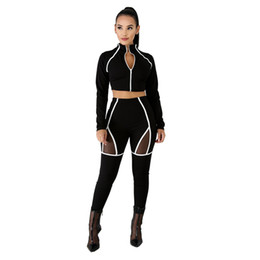 Red Cardigan Outfit UK - Sportswear Women Tracksuit 2 Piece Jacket And High Waist Mesh Insert Pant Outfit Set In Spring Autumn 2019