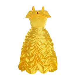 1422854475ab Princess Kids cosplay costume girl yellow birthday party wedding dress for  Christmas Exclusive dress Children role play Halloween party