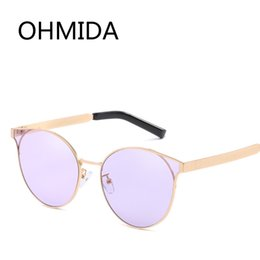 Discount female fashion eye shades - OHMIDA Fashion Cat Eye Sunglasses Women Round Lens purple Vintage Sun Glasses For Female Mirrored Brands Sunglasses Shad