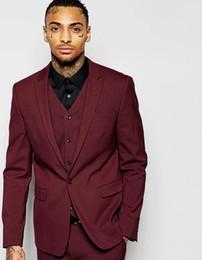 $enCountryForm.capitalKeyWord UK - Popular one button wine Groom Tuxedos peak Lapel Groomsmen Men Wedding Suits Bridegroom (Jacket+Pants+Vest+Tie) NO:137